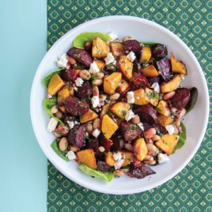 Chunky roasted veggies with beans