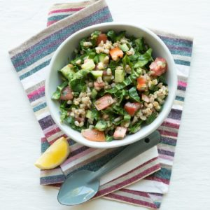 Pearled wheat and spinach salad