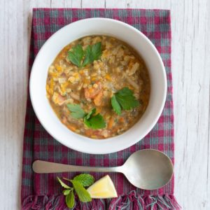 Spicy red lentil and vegetable soup